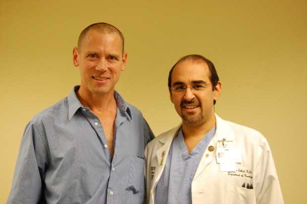 Bill with Dr. Tabbal, one-week post surgery