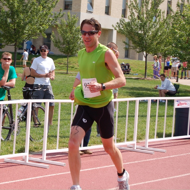 Bill completing his first triathlon in 2007.
